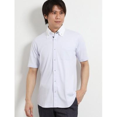 【タカキュー】 Biz 市松クレリックボタンダウン半袖カットシャツ メンズ パープル M TAKA-Q