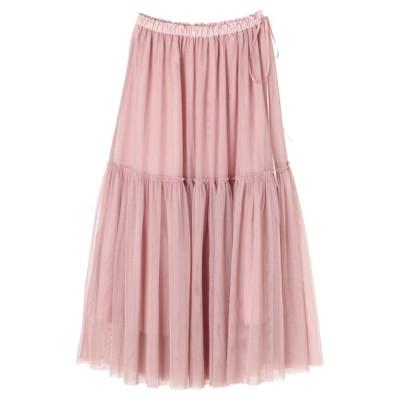 【メゾンドフルール】 チュールボリュームフレアスカート レディース ピンク ベージュ F Maison de FLEUR