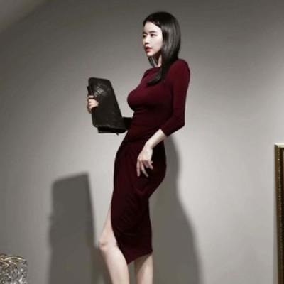 膝丈ワンピース タイトワンピース ツイストデザイン スリット 結婚式 パーティードレス 通勤 オフィス エレガント 韓国風 お呼ばれ