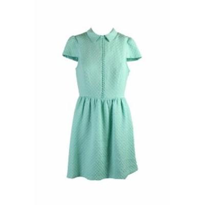 kensie ケンジー ファッション ドレス Kensie New Mint Textured Dot Short-Sleeve Flared Dress L