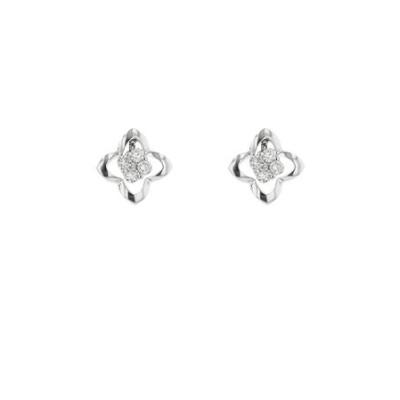 K18 ホワイトゴールド ダイヤモンド フラワー ピアス(0.16ct)