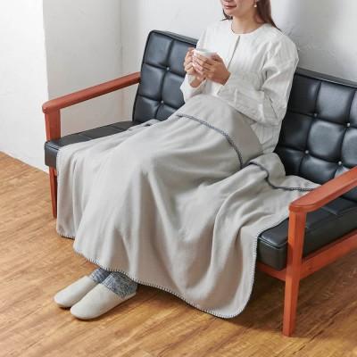 発熱するコットン「デオモイス」寝具シリーズ フランネルニットの2枚合わせ毛布 ハーフケット ブルー(WEB)