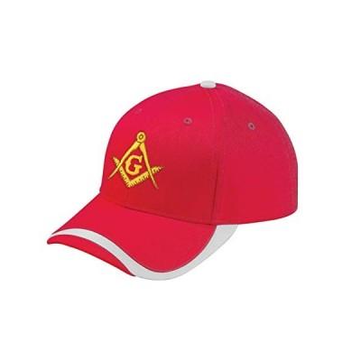 ゴールド スクエア & コンパス 刺繍 フリーメイソン スポーツ ウェーブ 調節可能な帽子 US サイズ: One Size カラー: レッド