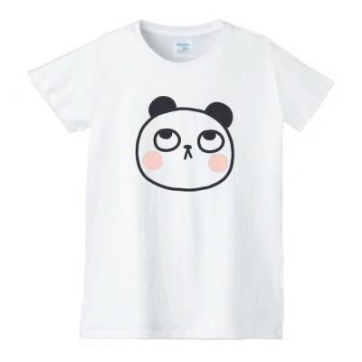 パンダ 動物生き物 Tシャツ 白 レディース 女性用 jd147