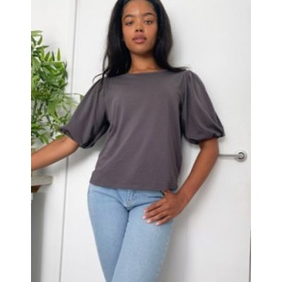エイソス レディース シャツ トップス ASOS DESIGN t-shirt with puff sleeve Charcoal