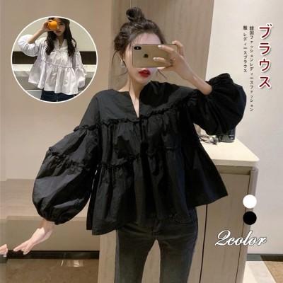 1PG556-P-2021 春服 韓国ファッション デザインセンス 小衆 ブラウス レディース ゆとり 甘い おしゃれな トレンド トップス 春 ブラウス 韓国