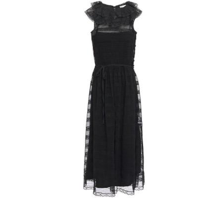 レッド ヴァレンティノ REDValentino レディース ワンピース ミドル丈 ワンピース・ドレス lace-paneled shirred tulle midi dress Black