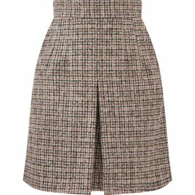 ドルチェ&ガッバーナ Dolce & Gabbana レディース ミニスカート スカート Checked alpaca-blend tweed mini skirt Beige