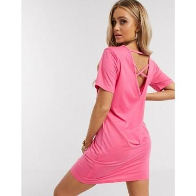 ミスガイデッド Missguided レディース ワンピース Tシャツワンピース ワンピース・ドレス Cross Back T-Shirt Dress In Pink ピンク