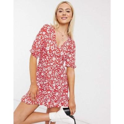 ミス セルフリッジ Miss Selfridge レディース ワンピース ミニ丈 ワンピース・ドレス fit & flare mini dress in red floral レッド