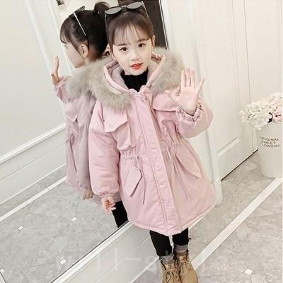子供服女の子心柄中綿コートフード付きジャケットキッズコート冬着子供コートキッズ服女の子服アウター中綿ロングコート女の子コート
