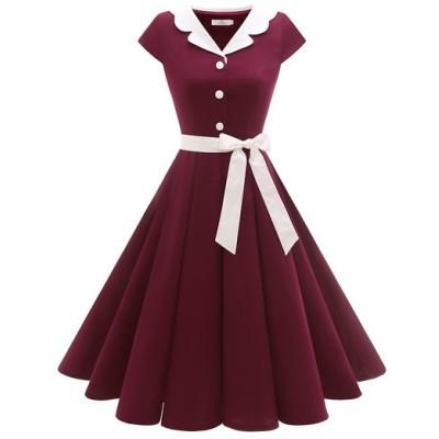 Dresstell 50年代ワンピース カップ袖 aラインワンピース レトロワンピース スイングワンピース 結婚式 誕生日 パーティー フォマール カジュアル
