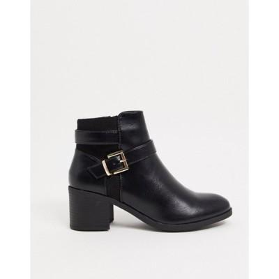 トリュフコレクション レディース ブーツ・レインブーツ シューズ Truffle Collection mid heel ankle boots in black