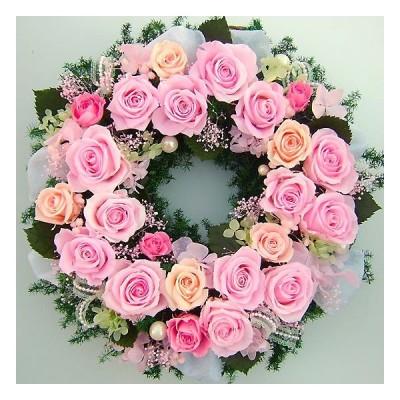 プリザブドフラワーリース 開店祝い 大きめ リース華やぎのピンクローズリース開店祝い/開院祝い/開業祝い/新築祝い/結婚祝い/クリスマス