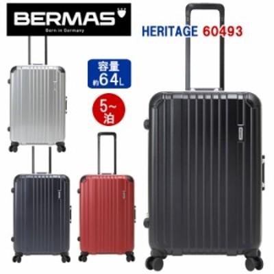 BERMAS バーマス 大型 スーツケース 64L heritage フレーム キャリーケース バッグ 5泊 長期 メンズ レディース コーナーパッド C面デザ