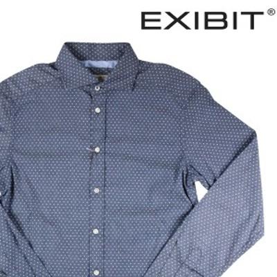 【S】 EXIBIT エグジビット 長袖シャツ メンズ 水玉 ブルー 青 並行輸入品 カジュアルシャツ