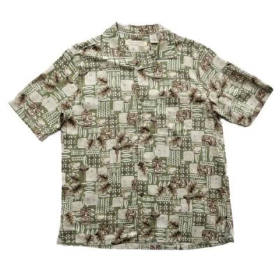 開襟 シルク アロハシャツ ハワイアンシャツ サイズ表記:M