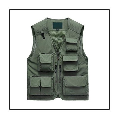 【新品】Duyang Men Casual Outdoor Photo Vest Journalist Travel Multi-Pockets Vest Jacket (Army Green, L)【並行輸入品】