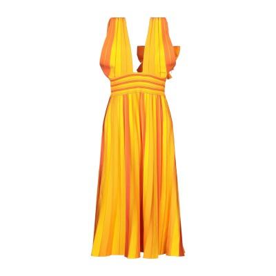 CAROLINA HERRERA 7分丈ワンピース・ドレス オレンジ XS レーヨン 81% / ポリエステル 17% / ナイロン 1% / ポリ
