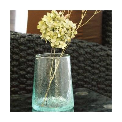 クラック ガラス フラワーベース B 花瓶 おしゃれ 丸型 シンプル アジアン雑貨 バリ 北欧 アジアン系