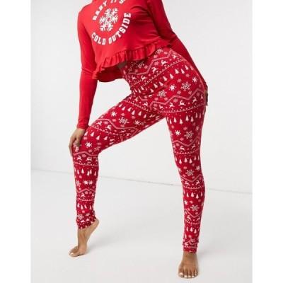アウトレイジフォーチュン レディース カジュアルパンツ ボトムス Outrageous Fortune Plus pajama pants with Christmas print in red Multi