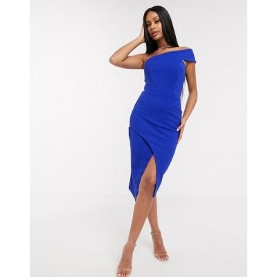 ラヴィッシュアリス Lavish Alice レディース ワンピース ワンピース・ドレス one shoulder midi dress in blue コバルトブルー