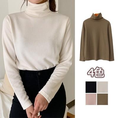 【ENVYLOOK】👗韓国ファッションカジュアルECサイト1位 ENVYLOOK💖裏起毛ベーシックハイネックリブTシャツ💖4COLOR 送料無料