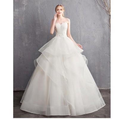 セクシー ロング丈ドレス ウエディングドレス パーティードレス ステージ衣装 二次会 ナイトドレス プリンセスライン お呼ばれ 結婚式 卒業式 成人式 高級