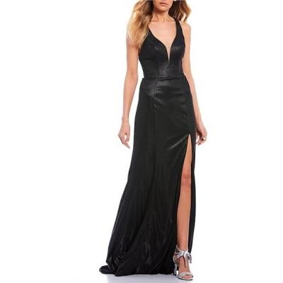 ジービー レディース ワンピース トップス Social V-Neck Strappy Back Side Slit Metallic Long Dress