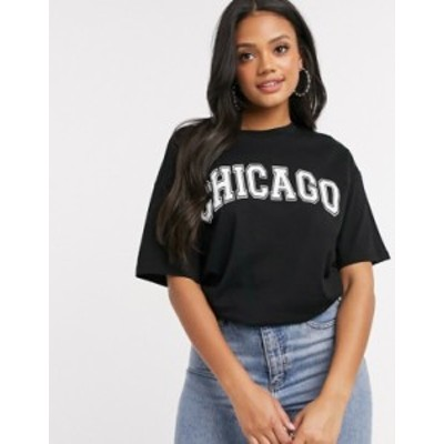 エイソス レディース シャツ トップス ASOS DESIGN oversized T-shirt with chicago print in black Black