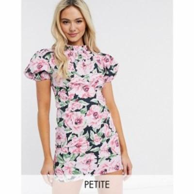 ミス セルフリッジ Miss Selfridge Petite レディース ワンピース ワンピース・ドレス Poplin Dress In Floral Blooms ブラック