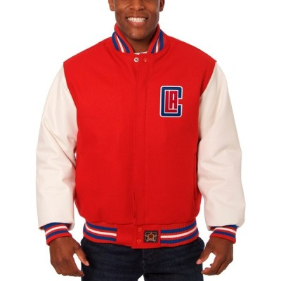LA Clippers JH Design Big & Tall Wool & Leather Full-Snap ジャケット - Red/White