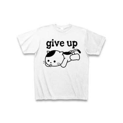 「ギブアップ」ねこ Tシャツ(ホワイト)