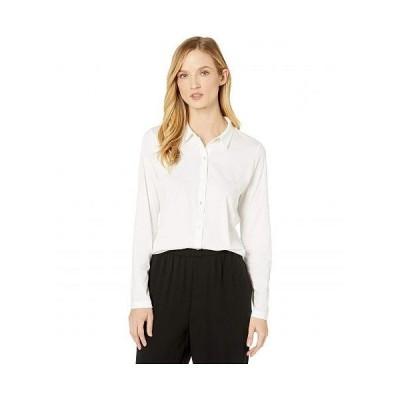 Eileen Fisher アイリーンフィッシャー レディース 女性用 ファッション ボタンシャツ Organic Cotton Easy Jersey Classic Collar Shirt - White