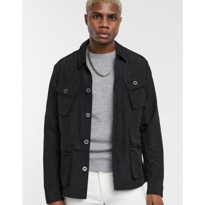 エイソス メンズ ジャケット・ブルゾン アウター ASOS DESIGN lightweight utility jacket in black