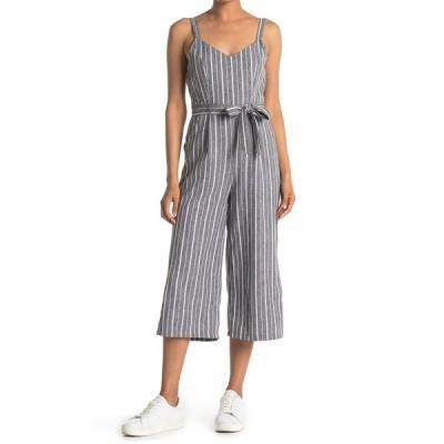 パピロン レディース ワンピース トップス Stripe Waist Tie Sleeveless Jumpsuit GREY