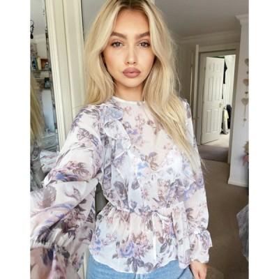 エイソス レディース シャツ トップス ASOS DESIGN long sleeve blouse with ruffle detail in light floral print