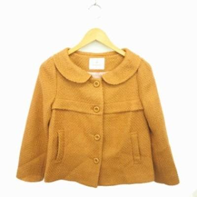 【中古】ルビーリベット Rubyrivet コート アウター ラウンドカラー ショート ウール混 長袖 36 茶 ベージュ /TT3
