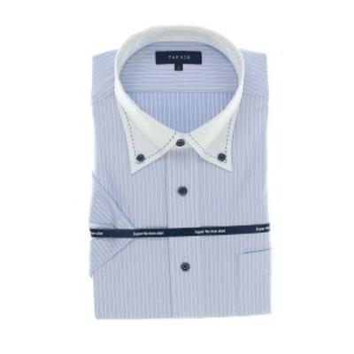 タカキュー(TAKA-Q)/ノーアイロンストレッチ レギュラーフィットボタンダウン クレリック半袖ニットシャツ/ワイシャツ