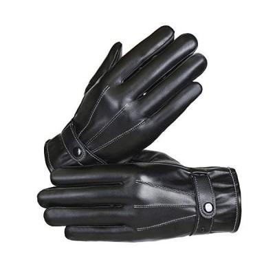 HinaHina フェイクレザーグローブ 防寒 革手袋 メンズ スマホ 手袋 裏起毛 防風保温 アウトドア バイクPU皮手袋冬