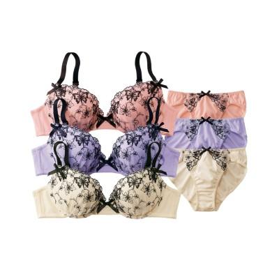 線画調蝶柄レースブラジャー・ショーツ3セット組(D75/L) (ブラジャー&ショーツセット)Bras & Panties