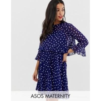 エイソス レディース ワンピース トップス ASOS DESIGN Maternity double layer pleated mini dress in spot Multi