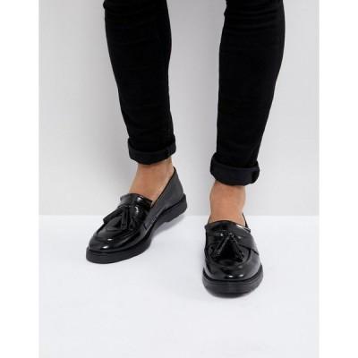 エイソス ローファー メンズ ASOS Tassel Loafers in Black Leather エイソス ASOS ブラック 黒