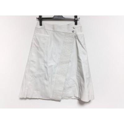 ヒロコビス HIROKO BIS 巻きスカート サイズ7 S レディース アイボリー フェイクレザー【中古】20200505