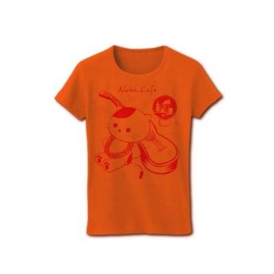 アロハ・カフェ「猫とウクレレ」 (ピンク) リブクルーネックTシャツ(オレンジ)