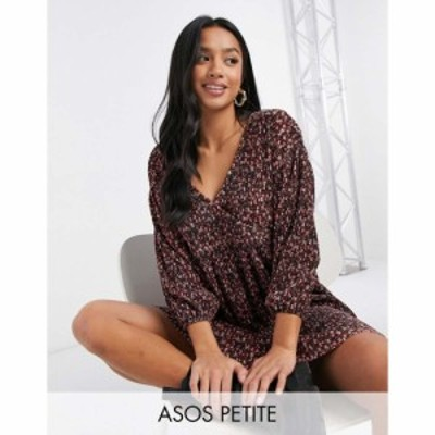 エイソス ASOS Petite レディース ワンピース Vネック ミニ丈 Asos Design Petite Mini Plisse Long Sleeve V Neck Dress In Red Ditsy F