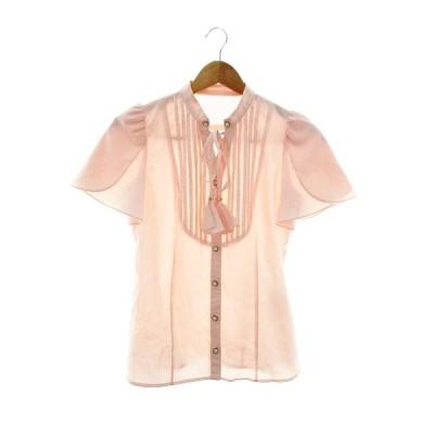 【中古】スウィングル Swingle シャツ 半袖 無地 1 ピンク /M2 レディース 【ベクトル 古着】