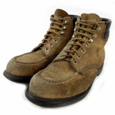 【中古】レッドウィング REDWING ブーツ アイリッシュセッター スウェード 羽タグ ベージュ ブラック 黒 9.5 D メンズ