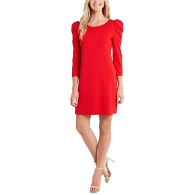 セセ ワンピース トップス レディース Puff-Sleeve Knit Dress Red Maple