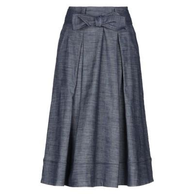 ROSSO35 デニムスカート ブルー 42 コットン 64% / 麻 27% / ポリエステル 7% / ポリウレタン 2% デニムスカート
